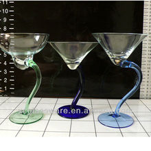 high quality mouth blown S shape stem martini glass