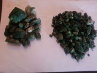 Rough uncut emeralds