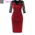 Evening Pencil Vestido Women's Deep-V Neck Ruffles Floral Lace Fitted Retro Dress