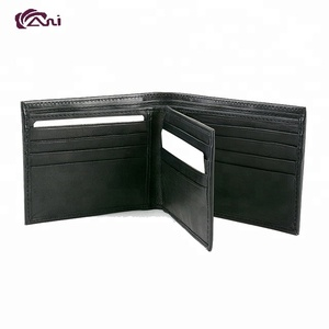Best sell in Amazon rfid wallet genuine leather black mens wallet with bifold design