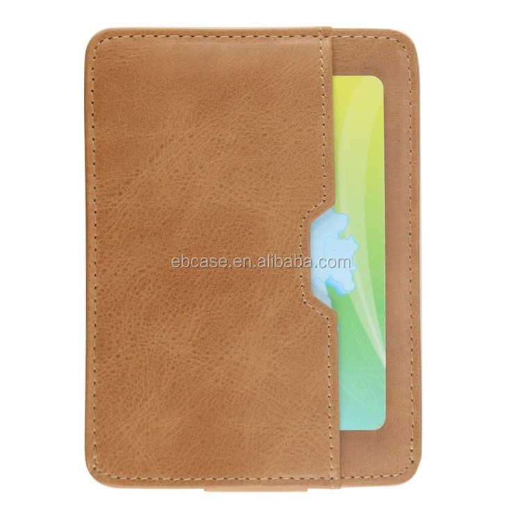 Genuine Leather Pull Tab Credit Card Holder wallet for men