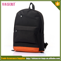 Black and orange color cheap school knapsack bookbag for university students