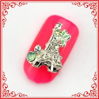 RH1472 Fashion charms 3d alloy rhinestone metal Small Eiffel Tower Nails Jewelry Nail Art Supply