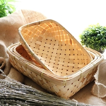High quality rectangle fruit bread storage bamboo holder/basket/tray