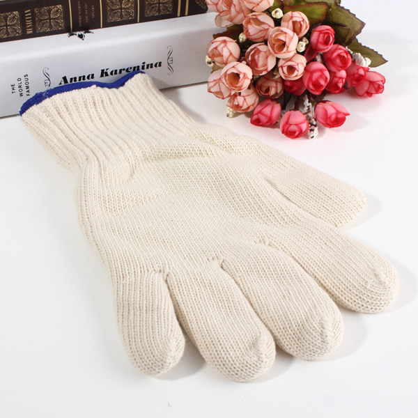 Brand MHR 7/10 gauge white knitted cotton gloves manufacturer in china/light purple gloves