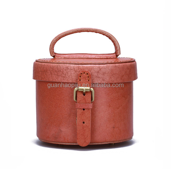 High Quality Leather Hard Unique Round Cosmetic Case For Lady