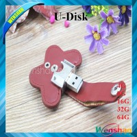 Genuine Flower shape leather 8gb usb flash drive