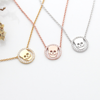 Wholesale Jewelry Skull Design Necklace Rose Gold and 14K Gold Plated Necklace Jewelry in 925 Sterling SIlver With Cheap Price