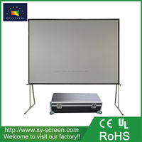 XYSCREEN 180 inch 4:3 Fast Fold Projector Projection Screen with Rear Projection Material on Heavy Duty Frame w/ flight Case