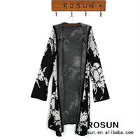 Casual style ladies long cardigan knitted sweater floral pattern