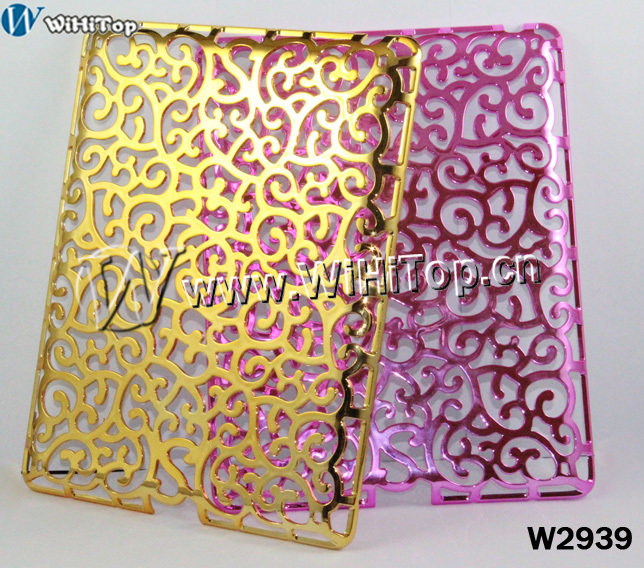 Palace Flower electroplating Hollowed Flower Case for iPad 3,Retail Packaging