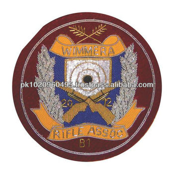 Rifle Shooting Club Badge & Crest, Hand Embroidered Club Badges, Premium Quality