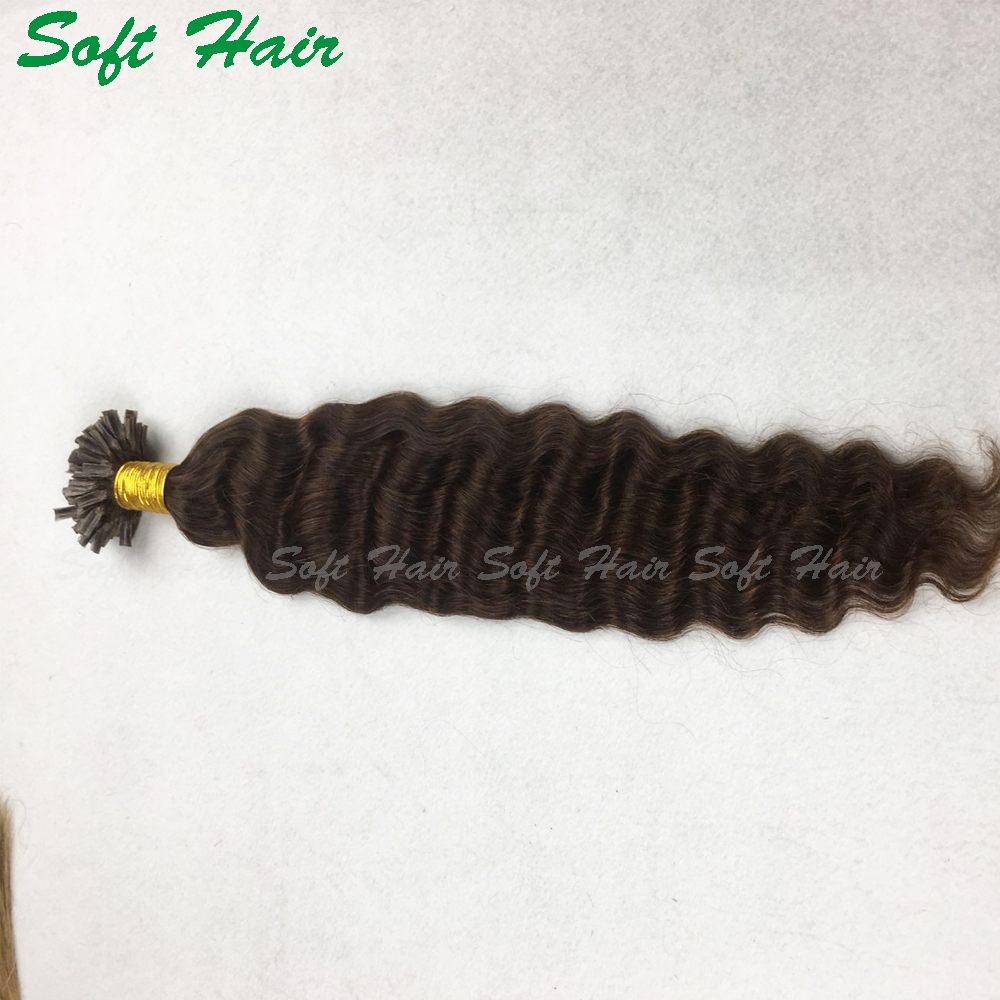 Wholesale Full cuticle hight quality curly I/<strong>U</strong>/V flat extensions <strong>100</strong> keratin tip human hair extension