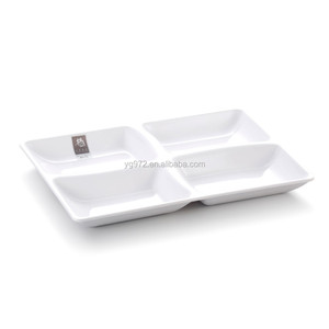 Unbreakable Rectangle Melamine Divided Fast Food Plates