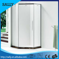 Stainless steel chrome frame simple safety tempered glass shower cabin