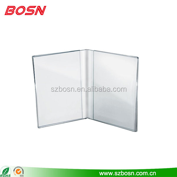 Hot sell clear dual frame acrylic tablet flyer display stand paper holder