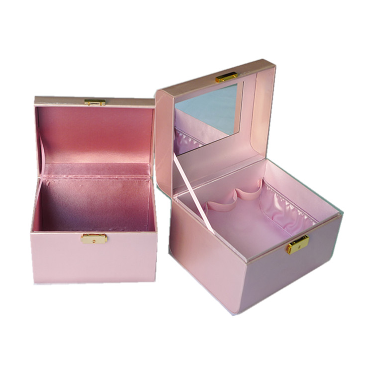 Factory Luxury Leather Custom Logo Printed Pink Jewelry Cosmetics Gift Boxes With Mirror