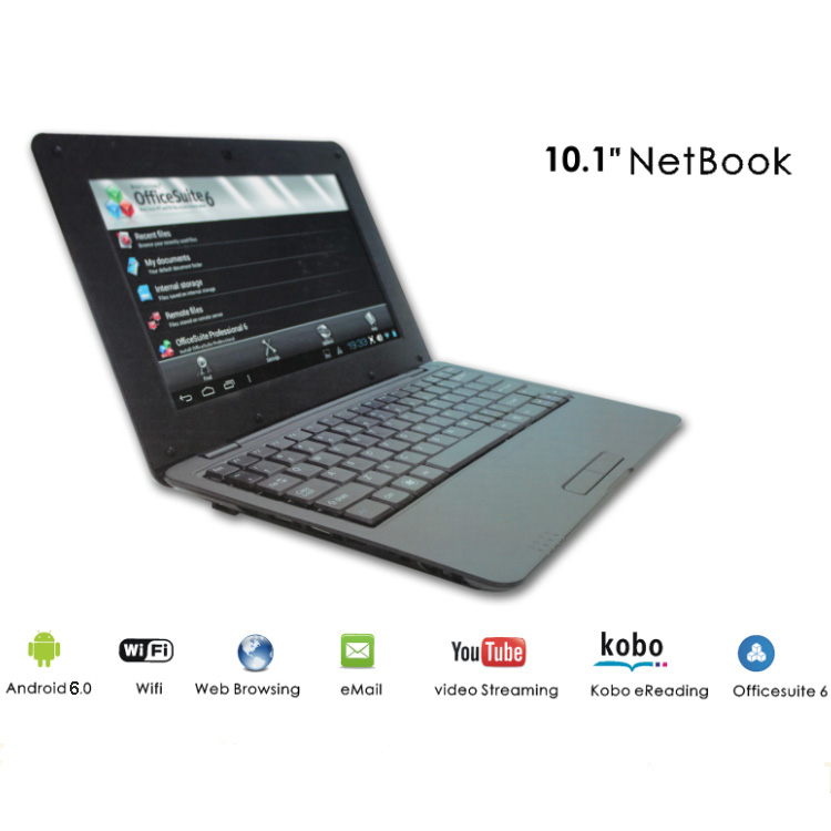 10.1 Inch RJ45 Slot notebook computer 1gb/8gb android quad core laptop 10inch