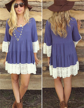 2016 New fashion blue chiffon dress with white stripes long sleeves loose casual women dress with lace hem