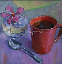 Best Quality Customize Available Still Life Handmade Coffee Cup Oil Painting on Canvas