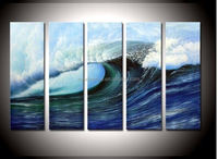 hand-painted The beach roaring waves boat Wall Decor Modern Landscape Oil Painting on canvas 5pcs/set