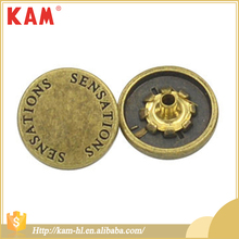 Factory wholesale custom laser engraved metal garment buttons
