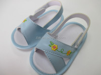 Little blue flower embroidery sandal solf sole baby shoes