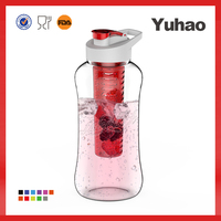 New Design Popular clear outside colorful water bottle with fruit infuser