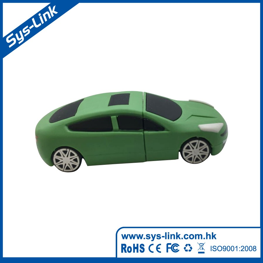 Customized Soft PVC Green Car USB stick with life warranty