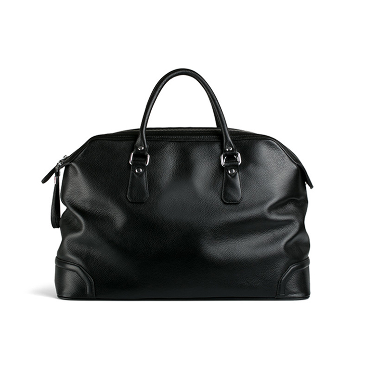 1DF0115 New Arrival High Quality fastening elegantly structured Men Outdoor Business Trip Travel Black Leather Duffle Bag