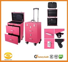 4-Wheel Rolling Makeup Nail Case Nail Drill Cosmetic Artist Trolley
