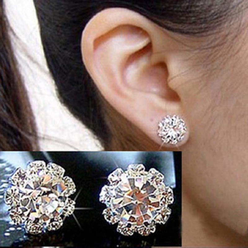 Fashionable Classic Shinning White Small Circle Crystals Fashion Stud Earrings Hot Sale Wedding Jewelry Ear Studs