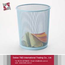Large Capacity Colored Metal Wire Mesh Round Garbage Trash Bin Cheap Wholesale Baskets