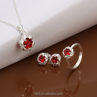 2015 attractive wholesale 925 sterling silver garnet jewelry set