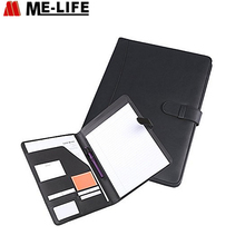PU Leather Padfolio With Neat Strap Closure, Document Organizer Including Letter-Sized Writing Pad