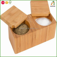 Bamboo Salt Boxes,Spice Boxes with Two Compartments,Eco-friendly Packaging Boxes
