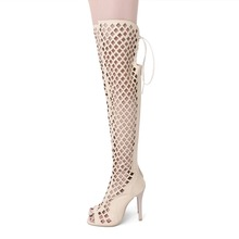 Korea style hot sale high heels thigh sandals boots for women