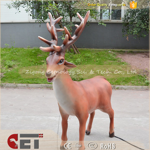 CET-E-1011 Indoor Outdoor wood zoo animal theme park Lifesize Robotic animatronics e-animal redeer decoration