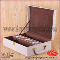 High end white leather two bottle wine packaging box OEM service