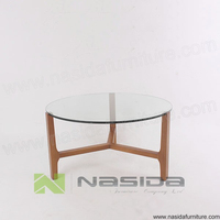 TL052 Glass table 15MM wooden Coffee table in livingroom