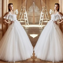Lace Appliqued Short Sleeve Ball Gown Divisoria Wedding Gowns