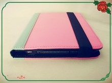 PU leather tablet case for universal 7 inch tablet PC(sky blue and romantic pink) for girls