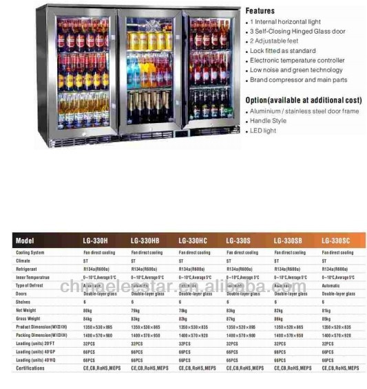 glass door back bar cooler,bar fridge, meat display case. display showcase