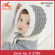 F-2785 baby cable knitted hat polar fleece inside warm beanie hat with strings for wholesale