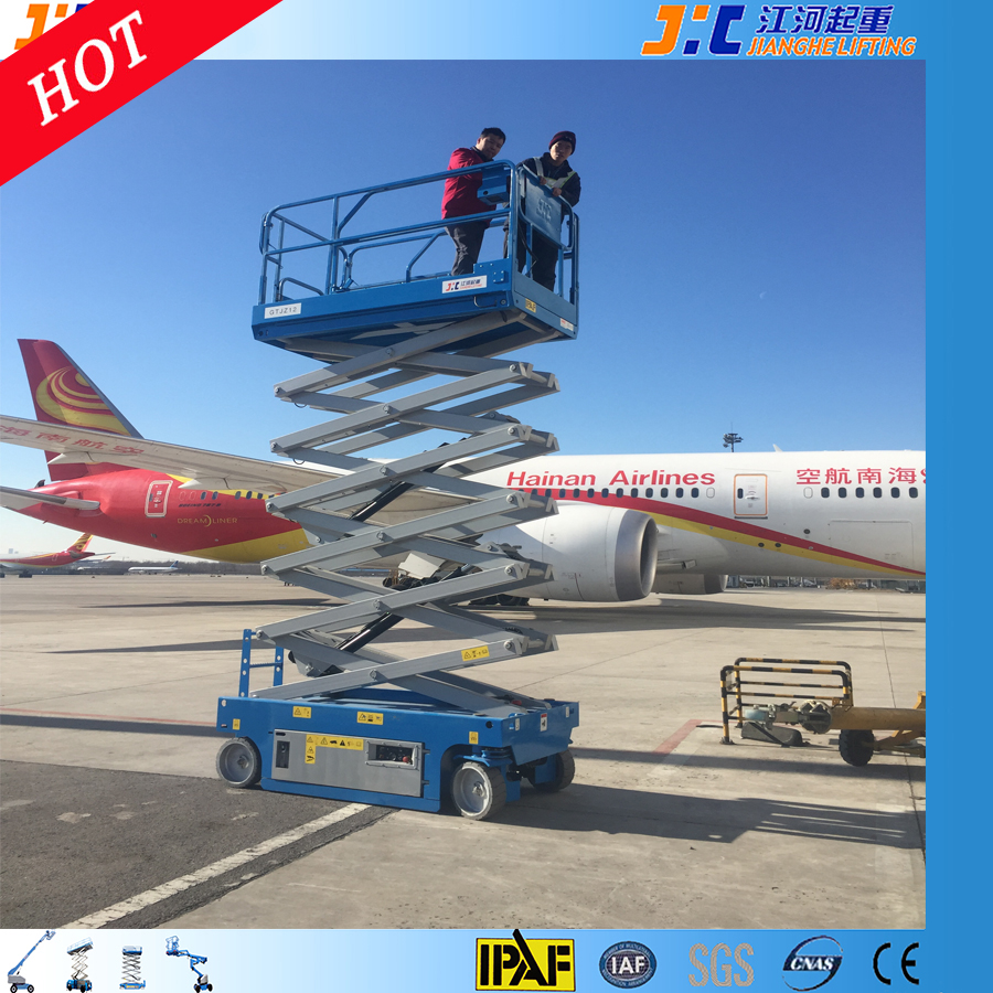 Self Propelled Scissor Model Elevated Work Platform 2 Man Lift with Tilt Sensor