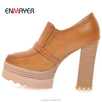 American brand fashion sex advanced brushed color PU buckle strap 11cm high chunky heel shoes with 4cm platform