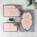 2018 New Design Navy Blue Laser Cut Wedding Invitations