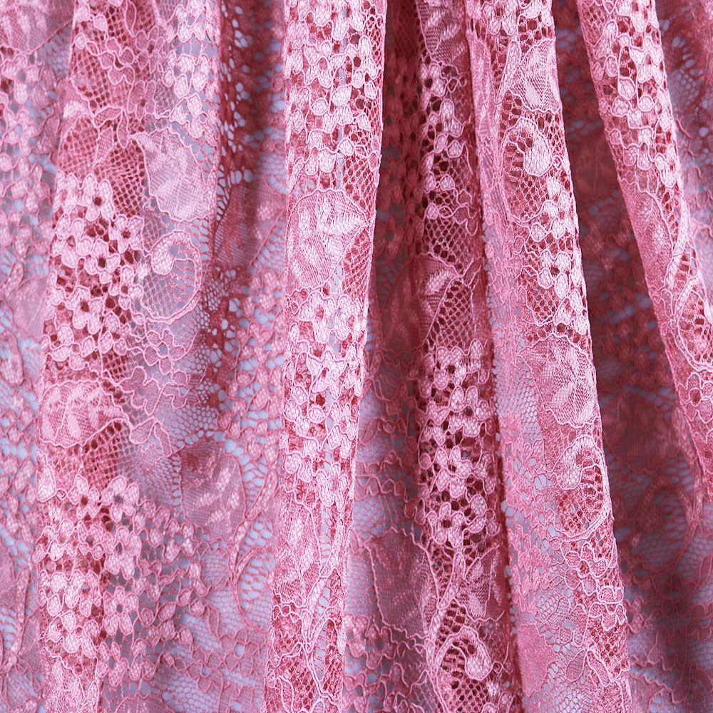 High quality polyester nylon blend fashion jacquard pink mesh lace fabric