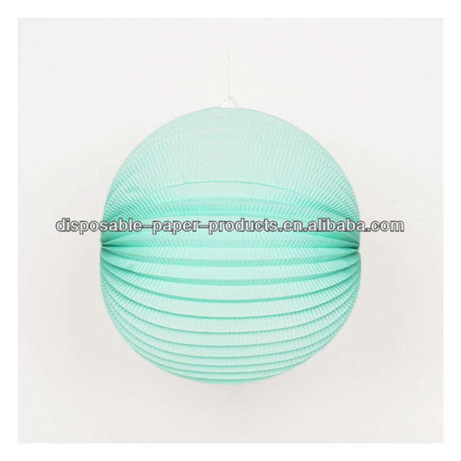 YIWU Wholesale 30cm 12inch accordion lantern robin egg Accordion Paper Lantern Foldable round paper lanterns Party decoration