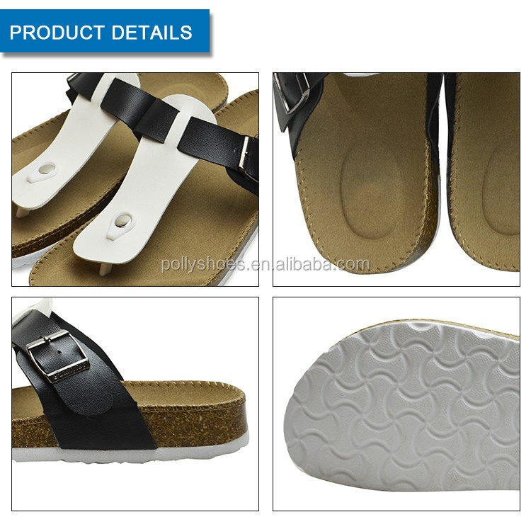 China Manufacture Platform Foot Bed Ladies Slippers White Black Buckle Cork Women Slipper